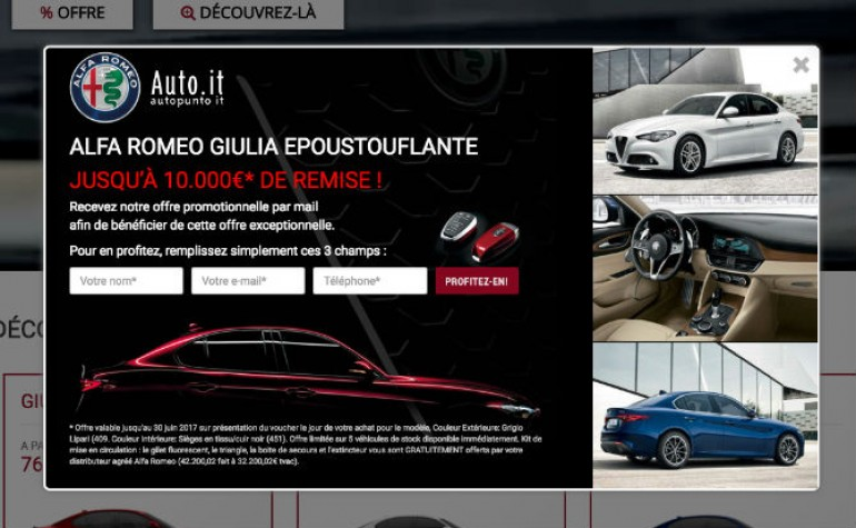 pop up alfa romeu giulia ok